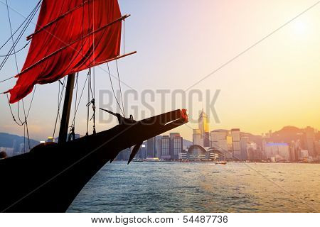 Traditional wooden sailboat / tourist junk sailing in Victoria Harbour ,Hong Kong