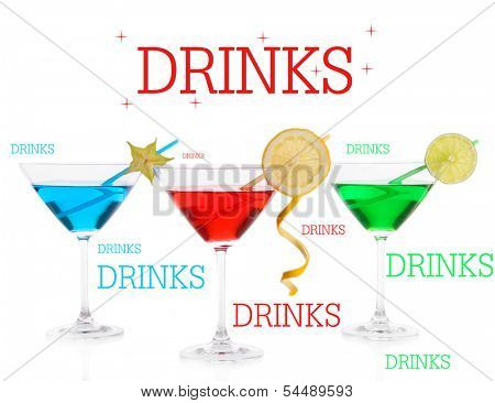 Alcoholic cocktails in martini glasses isolated on white