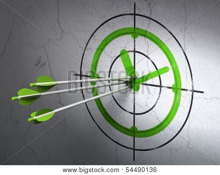 Time concept: arrows in Clock target on wall background