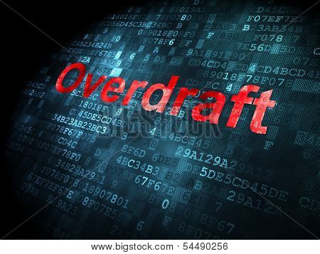 Business concept: Overdraft on digital background