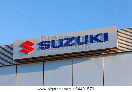 Samara, Russia - November 24: The Emblem Suzuki Over Blue Sky, November 24, 2013 In Samara, Russia.