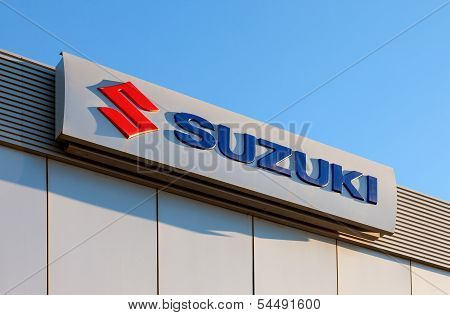 Samara, Russia - November 24: The Emblem Suzuki Over Blue Sky, November 24, 2013 In Samara, Russia.
