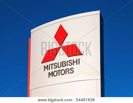 Samara, Russia - November 24: The Emblem Mitsubishi, November 24, 2013 In Samara, Russia. Mitsubishi