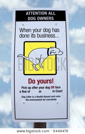 Fouling Dog Sign With Clipping Path