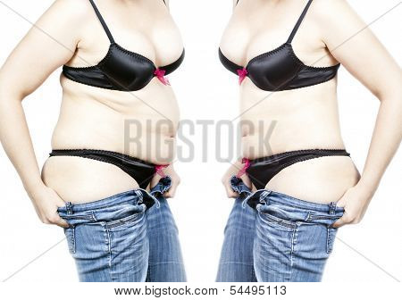 Before and after a diet - Fat and thin woman isolated on white