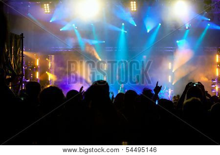 Cheering crowd in front of bright colorful stage lights