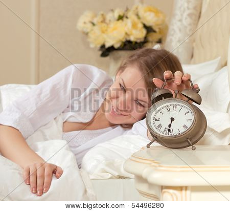 sleepy woman waking up