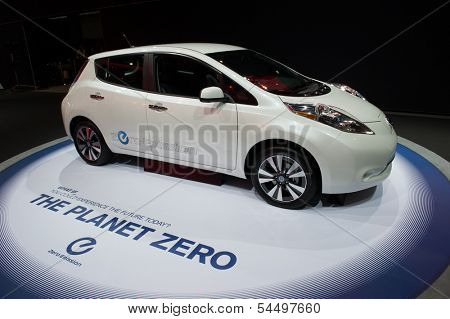 LOS ANGELES, CA - NOVEMBER 20: A Nissan Leaf zero emission vehicle on exhibit at the Los Angeles Auto Show in Los Angeles, CA on November 20, 2013
