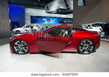 LOS ANGELES, CA - NOVEMBER 20: A Lexus LF-LC hybrid concept car on exhibit at the Los Angeles Auto Show in Los Angeles, CA on November 20, 2013