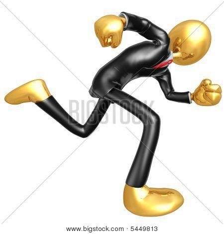 Personagem de ouro 3D cara empresário