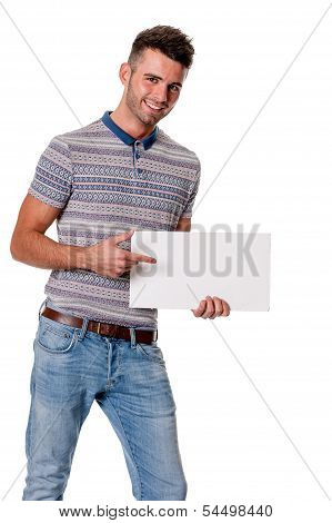 Handsome young guy holding sign, space for text