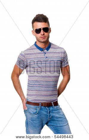 Handsome guy in sunglasses, isolated on white