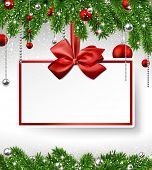 picture of fir  - Holiday background with fir twigs and paper invitation card - JPG