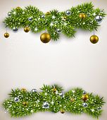 stock photo of bundle  - Detailed frame with fir bundles and golden balls - JPG