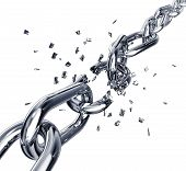image of shackles  - high resolution 3D rendering of a broken chain - JPG