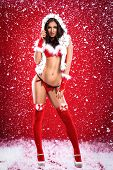 picture of voluptuous  - Sexy young woman  in provocative Santa Claus costume - JPG