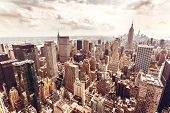 picture of empire state building  - New York City Manhattan skyline aerial view with Empire State building - JPG