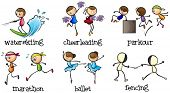 Illustration of the six different activities on a white background