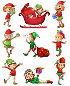 picture of sleigh ride  - Illustration of the playful Santa elves on a white background - JPG