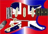 foto of stratocaster  - A traditional solid body electric guitar with a Union Jack scratchplate and red white and blue body colour - JPG