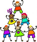 picture of cute kids  - Whimsical drawing of a group of happy and diverse children forming a support tower - JPG