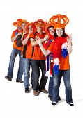 Group Of Dutch Soccer Fans Making Polonaise Over White Background