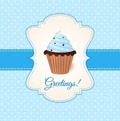 stock photo of recipe card  - Vintage vector greetings card with blue cream cake - JPG