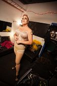pic of drag-queen  - Single man in foundation for drag queen outfit - JPG