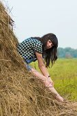 picture of hayfield  - Portrait of pretty brunette lying on haystack in summer hayfield - JPG