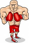 stock photo of pugilistic  - Cartoon Illustrations of Boxer Sportsman or Fighter - JPG