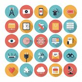 stock photo of chat  - Flat design modern vector illustration icons set of SEO website searching optimization and technology development object and equipment in stylish colors - JPG