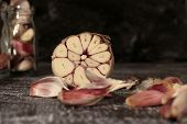 stock photo of antibiotics  - garlic - antibiotics in nature - vintage style