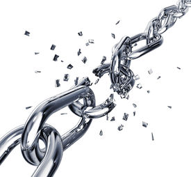 pic of shackles  - high resolution 3D rendering of a broken chain - JPG