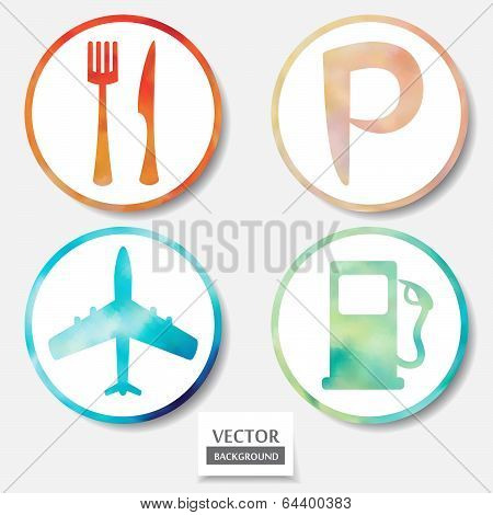 Set Of Four Icons. Web And Mobile Apps Circle Watercolor Button.  Vector Illustration.