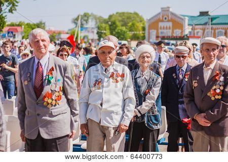 Unidentified Veterans During The Celebration Of Victory Day. Gomel, Belarus - May 9: Unidentified Ve
