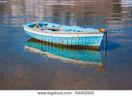 Fishing Boat In Greece In Sea Near The Beach.