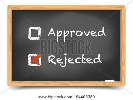 detailed illustration of checkboxes with approved and rejected options on a blackboard, eps10 vector, gradient mesh included