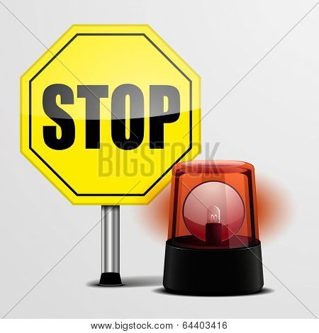 detailed illustration of a yellow stop sign with a red emergency flashing light, eps10 vector