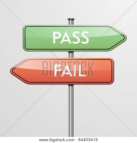 detailed illustration of a roadsign with pass and fail pointers showing in different directions, eps10 vector