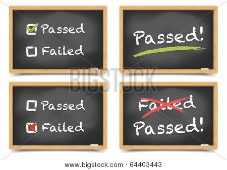 detailed illustration of blackboards with pass and fail options, eps10 vector, gradient mesh included