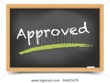 detailed illustration of a blackboard with approved term, eps10 vector, gradient mesh included