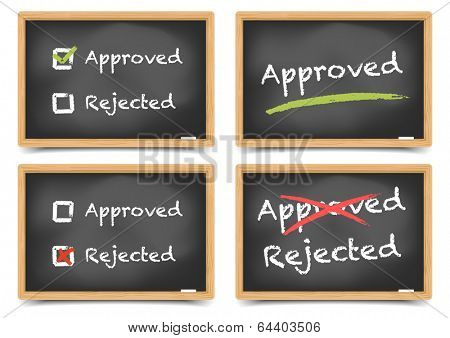 detailed illustration of blackboards with approved and rejected options, eps10 vector, gradient mesh included