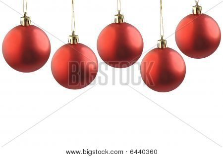 Five Christmas Red Balls.