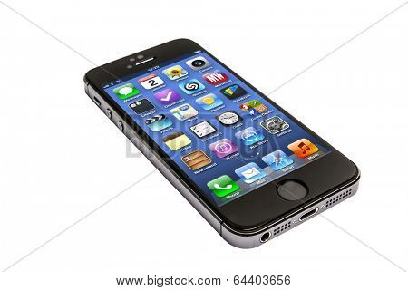 Ostersund, Sweden - April 9, 2014: Black iPhone 5 isolated on white background. Apple IPhone is one of the most popular smart phones in the world.