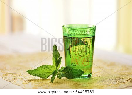 Moroccan tea with mint leaves