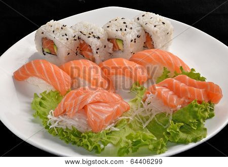 Sushi salmon fish and tuna fish rolls,japanese food.