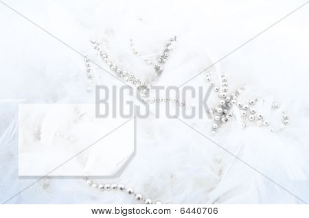 White Feathers In The Form Of Snow With A Silver Beads And A Place For An Inscription