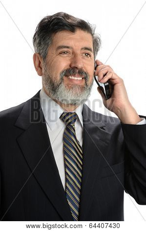 Portrait of Hispanic businessman using cell phone isolated over white background