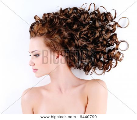 Woman With Beautiful Long Curly Hairs