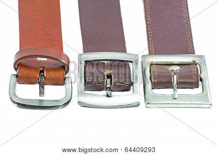 Three Male Elegant Belt Isolated On The White